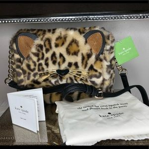 Kate Spade run wild leopard print muff Crossbody